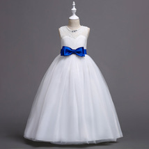 Beauty Flower Girl Dresses 2018 Blue Bow First Communion Dress Formal Party Gown image 6