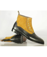 Men's Stylish Buttons Handmade Black & Tan Boots, Men's Ankle High Desig... - $149.99+