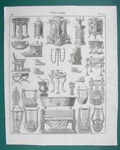 GREEK Roman Musical Instruments Furniture Shoes  - 1825 Antique Print - $10.71