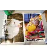 1987 Wendy's Pick-A-Pet Gallery White Rabbit & A Ball of Fun Cat Poster ... - $8.99