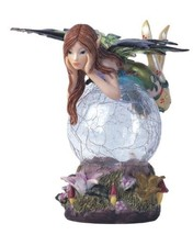 "5"" Inch Green Fairy LED Light Crystal Ball Fantasy Decoration Statue Figurine . - $27.00"