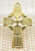 Gold Vermeil Pewter Crucifix Cross Vintage Pendant Celtic - $19.80