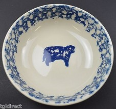 """Tienshan Animals Pattern Pottery Cow Coupe Cereal Bowl 6.5"""" Wide Spongeware - $9.99"""