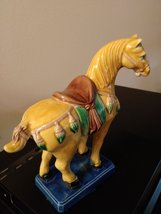"Old Chinese Tang Style 3 Color Porcelain Pottery Horse Statue 6.5""  1981  Chang- image 5"