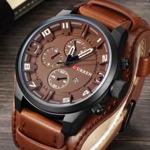 CURREN Fashion Men Quartz Wristwatch Creative Leather Strap Sports Watch  - $20.99