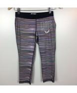Soffe Dri Yoga Pants S Athletic Capri Low Rise Stretchy Multicolor Strip... - $12.59