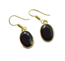 Brown Gold Plated Fashion delicate Smoky Quartz jewellery Earring UK gift - $14.48