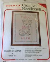 "VTG Bucilla 10"" x  13"" I Love My Cat Stamped Cross Stitch 2328 Sampler Calico - $29.44"