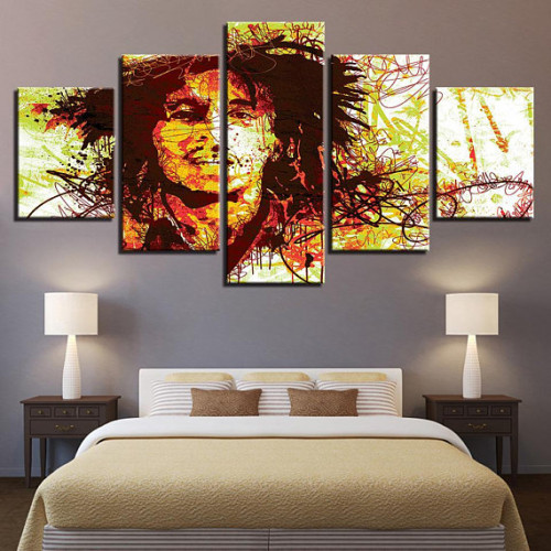 Framed 5 Pcs Bob Marley Rasta Canvas Print Painting Wall