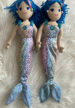 "Aurora Mermaid Plush Doll Stuffed Toy Blue Sparkle Lot 2 Girls 17"" - $17.81"