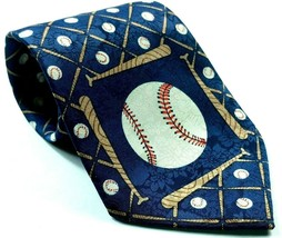 Baseball Baseball Bat All Over Print Men's Novelty Necktie Blue - $11.90