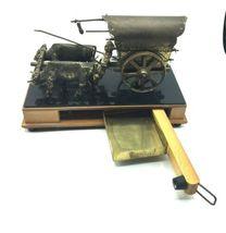 Vintage Wood Metal Wagon Wind Up Music Lullaby Jewelry Stash Box Western Decor image 4