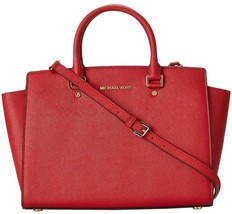 Michael Kors Selma Large Red Saffiano Leather Satchel Bag Purse Crossbody Nwt - $291.91
