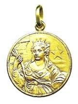 SOLID 18K YELLOW GOLD ROUND MEDAL, SAINT BARBARA, DIAMETER 17mm image 1