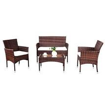 Hulaloveshop US HUB 5-7 Days 4 Pcs PE Rattan Wicker Sofa Furniture Set w... - $395.01