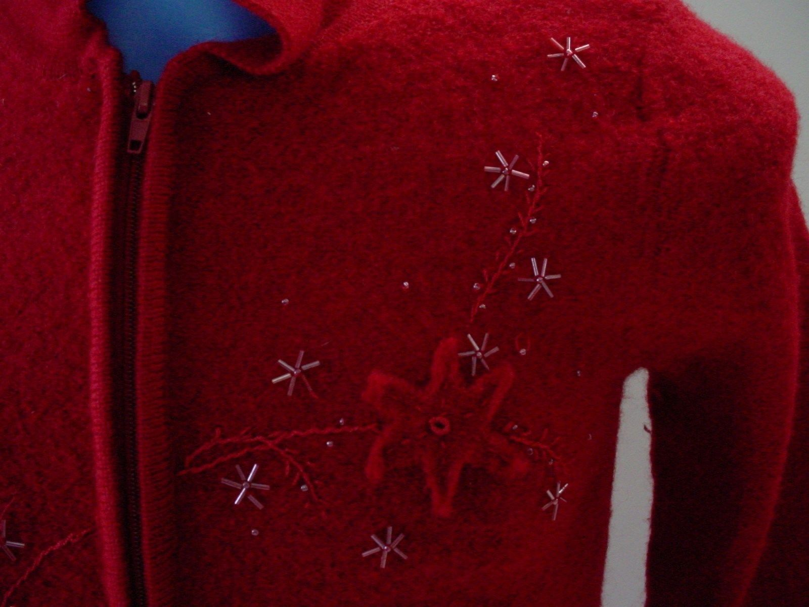 f861cc83e5c Dress Barn Ugly Christmas Sweater Zip Up Turtle Neck Red Size M