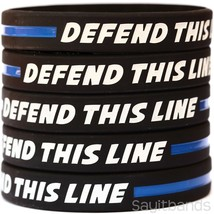 DEFEND THIS LINE Wristband Set with the Thin Blue Line - Silicone Bracel... - $1.48+