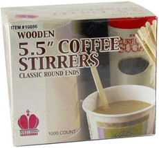 "Poly King 1088-6 Classic Round Ends 5.5"" Wooden Coffee Stirrers, Box of ... - $35.51"