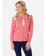 Bob Mackie Sequin Floral Applique Cardigan, Coral, S - $29.69