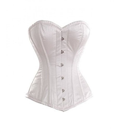 Primary image for White Satin Goth Burlesque Bustier Waist Cincher Basque Overbust Corset Costume