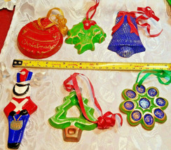 6 Vintage Cookie Cutter Hand Made Christmas Ornaments