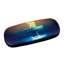 Glasses Case Hard Protective Clam Shell Glasses Box Cross Pattern #2 - $16.82