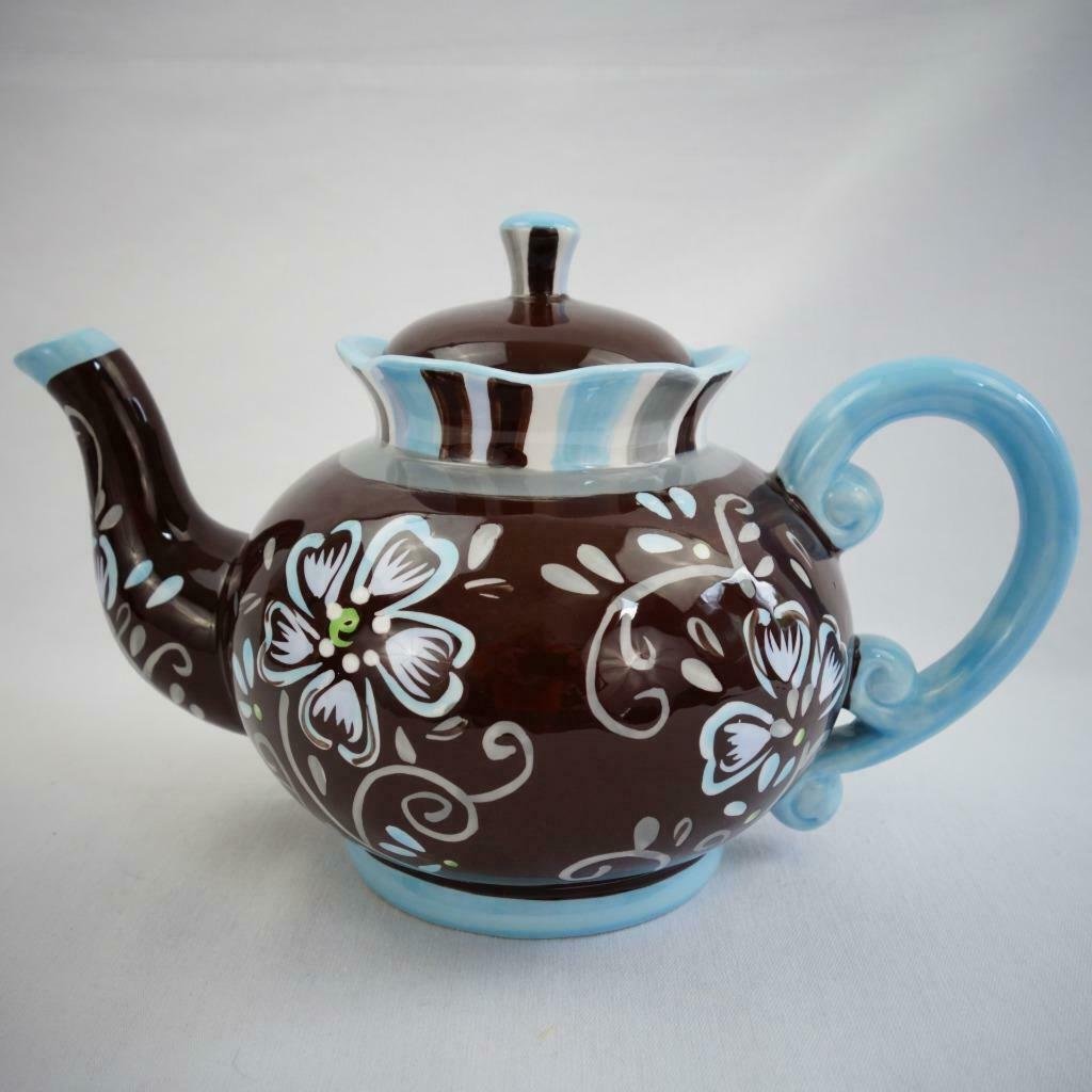 Primary image for Pier 1 Hand Painted Dolomite Floral Teapot