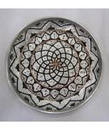 Decorative Ghalamzani Hand Engraved Copper Dish (25cm) - Geometrical Design - $29.00