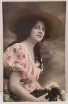 RPPC Pretty Female Model, Hand Tinted, Painted Germany Photo Postcard C4 - $14.80