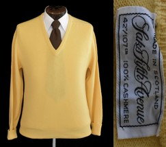 Vintage 80s Men's Yellow Cashmere Sweater by Saks Fifth Avenue Medium to... - $69.99