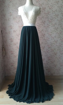 Dark Green Plus Size Maxi Chiffon Skirt Dark Green Bridesmaid Maxi Chiffon Skirt image 4