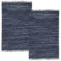 Simply Living 2 Pack Denim Area Rug Home Décor Kitchen Living Room Blue Woven Ru