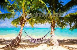 Digital download Beach sea ocean summer hammock coconut tree Painting Wa... - $7.00