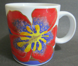 Laurel Burch Wild Hibiscus Coffee Mug Hawaiian Flower Floral Gold Outlin... - $8.59
