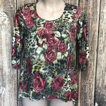 Brittany Black Women's Stretchy Blouse Top ~ Sz 1X ~ Green ~ Roses ~ 3/4... - $38.60