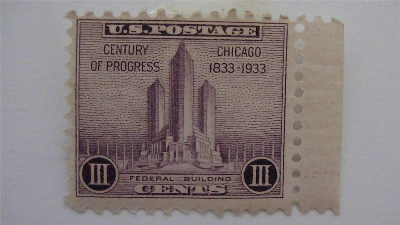 Old Century of Progress Chicago Purple Vintage USA Mint Hinged 3 Cent Stamp