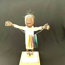 Americana Black Folk Art Girl Holding A String Of Fish Cerri Noto 1997 R112 - $97.02