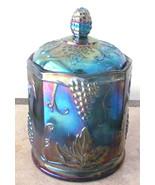 Vintage Indiana Glass Blue/Purple Carnival Iridescent Color Grape & Frui... - $65.99