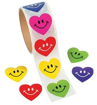 "Smile Face Heart Sticker Rolls (100 Stickers per Roll) Paper. 1 1/2""."