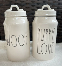 Rae Dunn WOOF & PUPPY LOVE Farmhouse Ceramic Pet Dog Treat Canister Jars... - $49.99