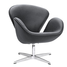 Fine Mod Imports Swan Chair Leather, Black - $463.00