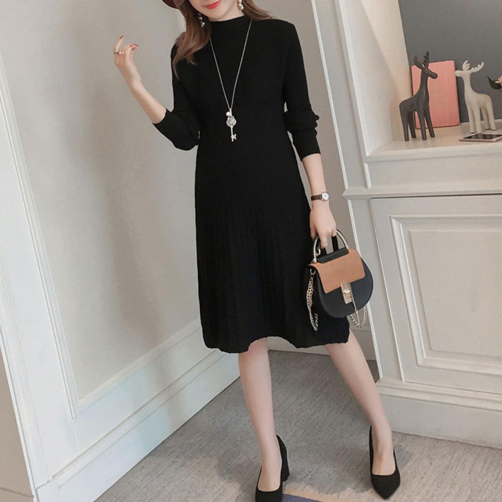 Maternity's Aline Dress Slim Long Sleeve Solid Color Dress image 4