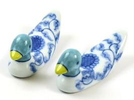 Vintage Design by Hiromi Miniature Porcelain Duck Figurines-Blue, Green ... - $29.69