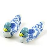 Vintage Design by Hiromi Miniature Porcelain Duck Figurines-Blue, Green & White  - $29.69