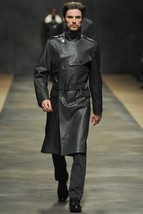 Men Leather Coat Winter Long Leather Coat Genuine Real Leather Trench COAT-UK41 - $214.46