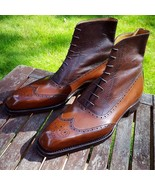 Handmade Men's Ankle High Leather Brown Lace up dress Boots - $159.97+