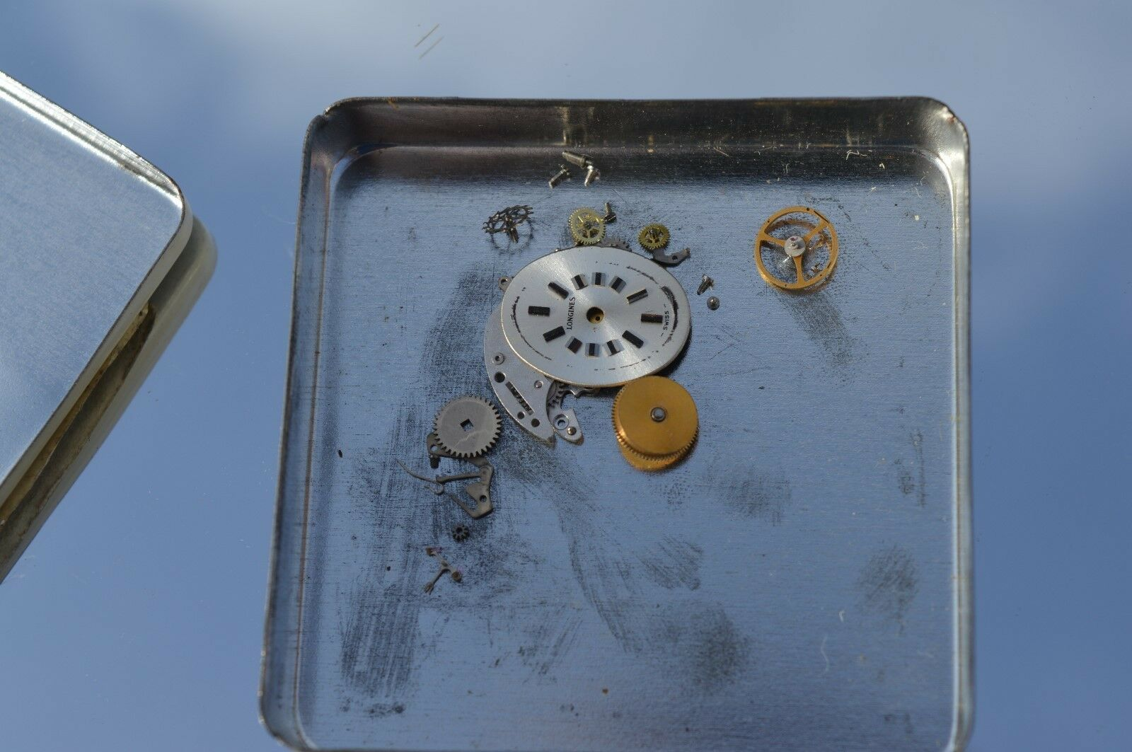 Primary image for Vintage Longines 450 watch movement parts in Esslinger & Co Tin **parts only
