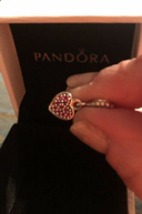 Authentic Pandora Red Pave Heart Dangle Charm, 791023CZR