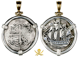 Mexico 4 Reales Philip Iv Galleon Ship Pendant Necklace Jewelry Pirate Gold Coin - $1,495.00