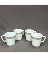 VINTAGE CORELLE PYREX D HANDLE WOODLAND BROWN COFFEE CUPS LOT OF 4 - $18.46